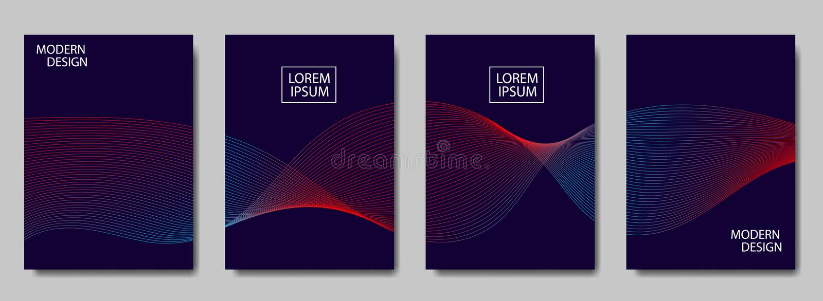 Colorful halftone lines wave cover of page layouts design. Modern design cover with halftone gradients. Vector dynamic poster royalty free illustration