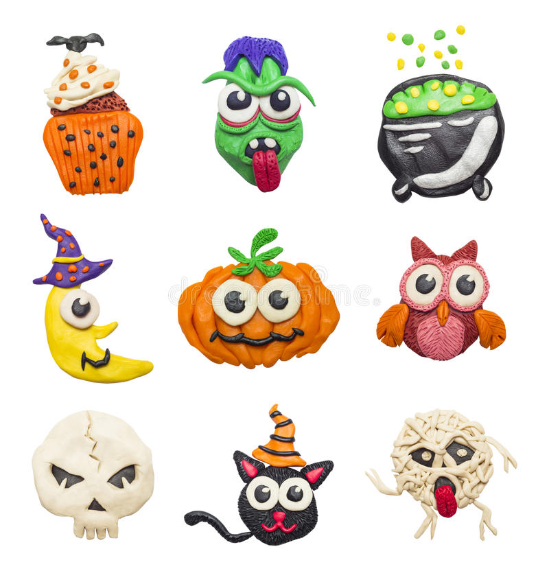 Colorful Halloween elements. A big set of colorful clay handmade elements for Halloween stock illustration