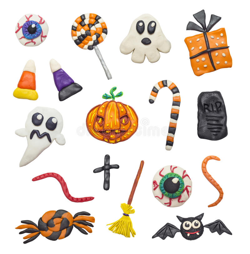 Colorful Halloween elements. A big set of colorful clay handmade elements for Halloween vector illustration