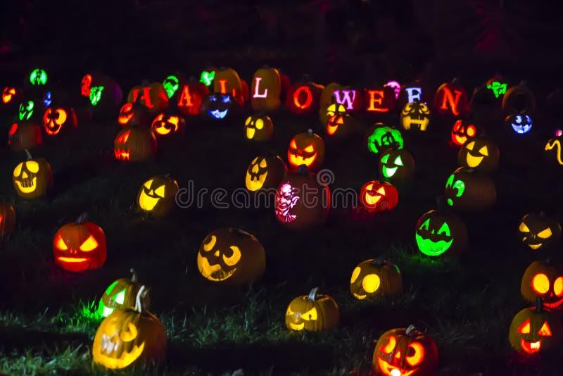 Colorful Halloween Jack O` Lanterns royalty free stock photos