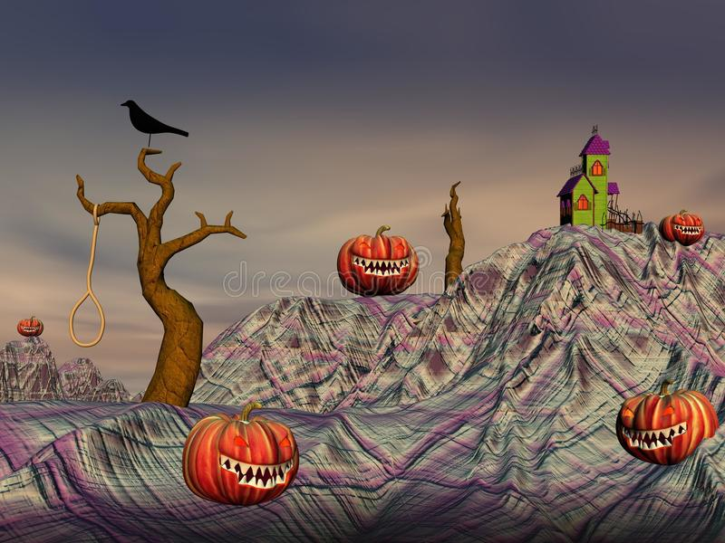 Colorful Halloween Scene Stock Photography