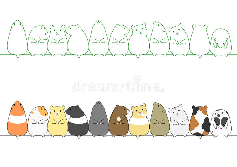 Colorful hamsters in a row. Set of colorful hamsters in a row stock illustration