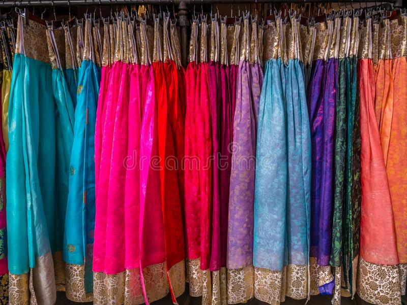 The colorful Hanbok, Korean traditional silk dress & ornaments for women.Rent for tourist. royalty free stock photo