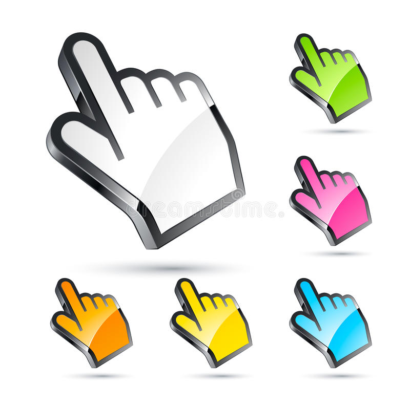 Colorful hand cursors