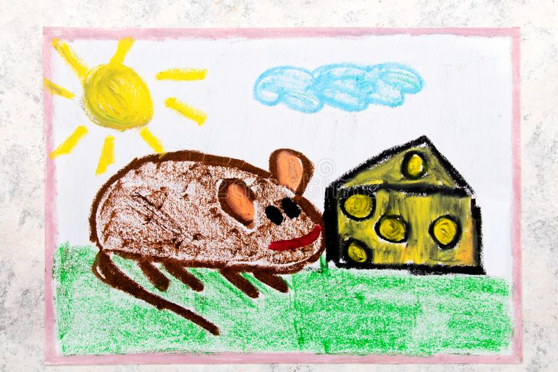 Drawing: adorable little mouse eating yellow cheese with holes royalty free illustration