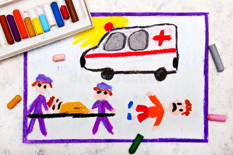 Drawing: ambulance and paramedics. Accident victim. Colorful hand drawing: ambulance and paramedics. Accident victim stock illustration