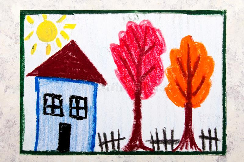 Colorful hand drawing: beautiful autumn trees and house. Colorful hand drawing: beautiful autumn trees and small house stock illustration