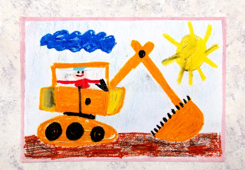 Drawing: big yellow excavator. Colorful hand drawing: big yellow excavator vector illustration
