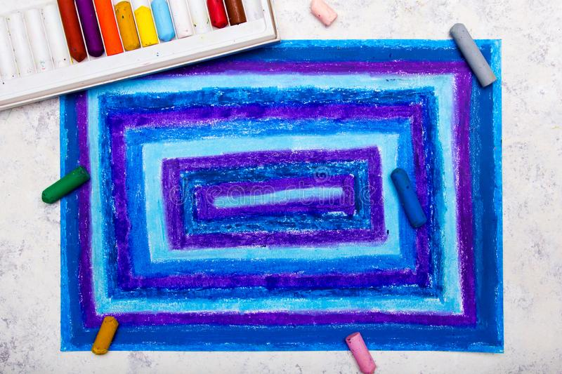 Colorful hand drawing: blue rectangles. On paper stock illustration
