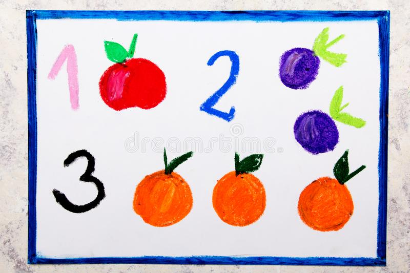Drawing. Numbers: one apple, two plums, and three oranges. Colorful hand drawing. Numbers: one apple, two plums, and three oranges royalty free illustration