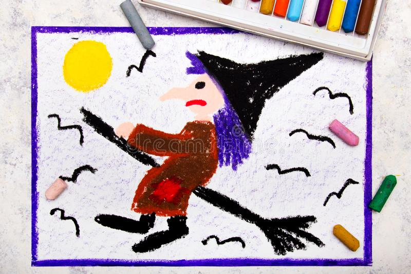 Colorful hand drawing: Old ugly witch flying on a broom. Halloween drawing on white background stock images