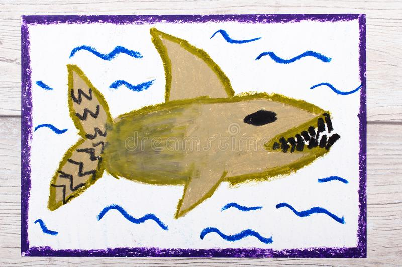 Colorful hand drawing: Scary sea monster, shark. Photo of colorful hand drawing: Scary sea monster, shark royalty free illustration
