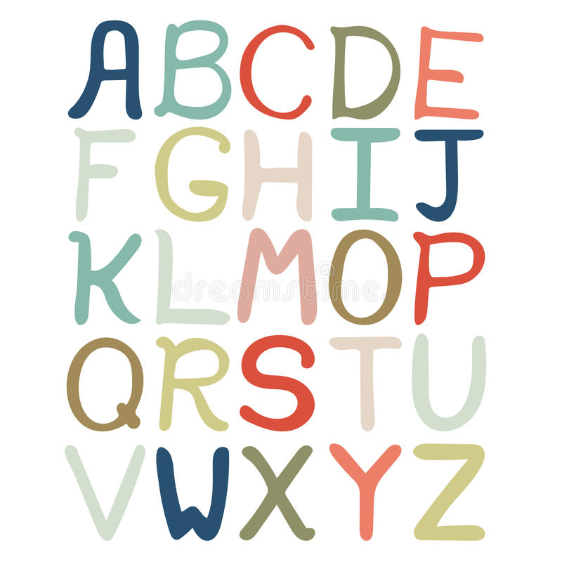 Colorful hand drawn abstract alphabet. Alphabet isolated, flat style, font isolated, type. vector illustration