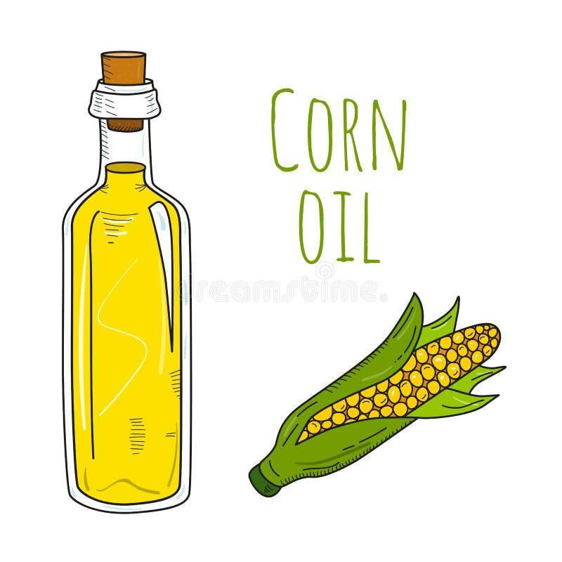 Colorful hand drawn corn oil bottle vector illustration