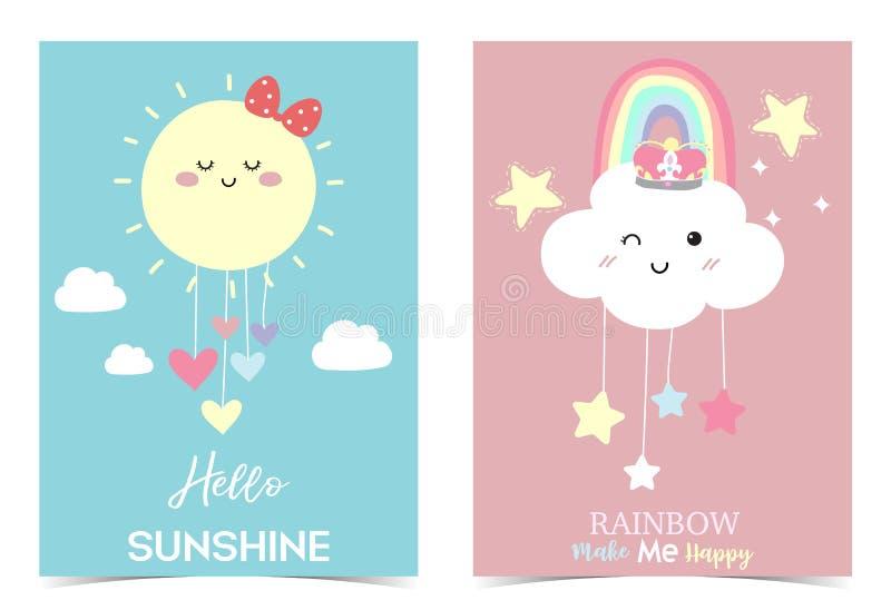 Colorful hand drawn cute card with rainbow,heart,cloud,star,sun.Rainbow make me happy vector illustration