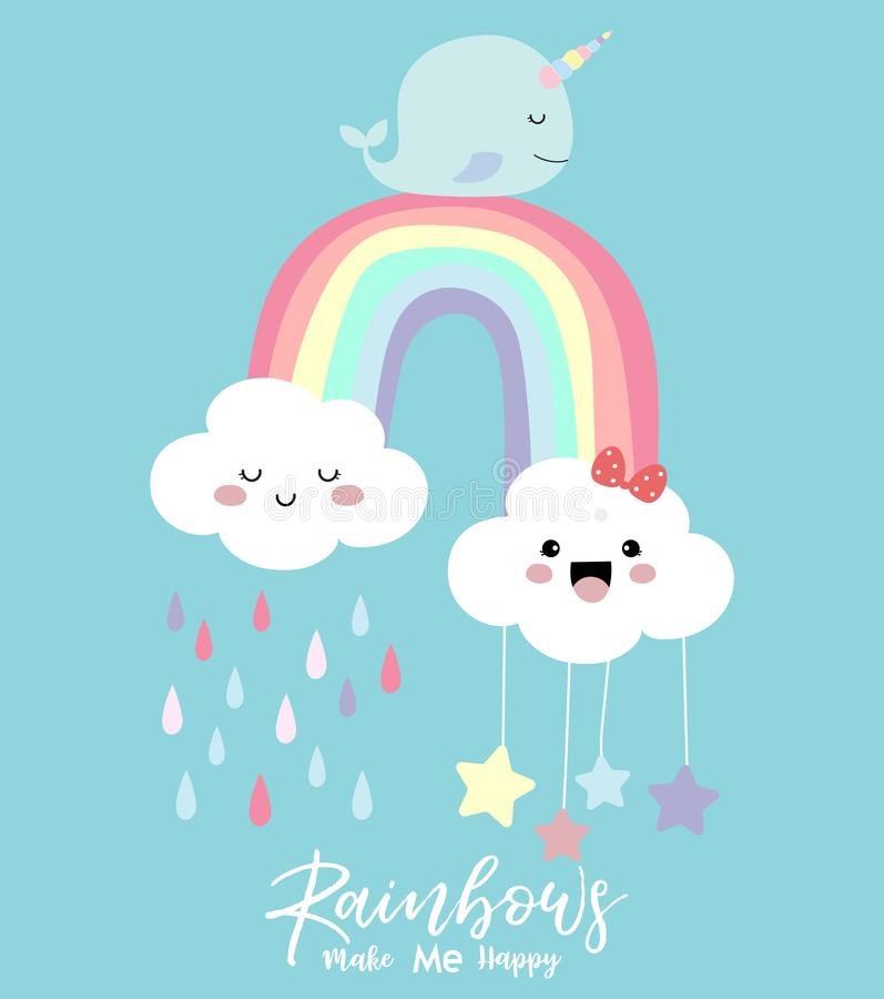 Colorful hand drawn cute card with rainbow,narwhale,cloud stock illustration