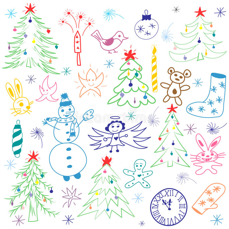 Colorful Hand Drawn Cute Christmas Sketch Set. Children Drawings of Snowman, Fir Trees, Candle, Toys, Angel, Stars stock illustration