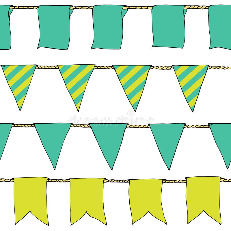 Colorful Hand drawn doodle bunting banners horizontal seamless pattern. Cartoon banner, bunting flags, border sketch. Bright Decor. Ative elements for design royalty free illustration