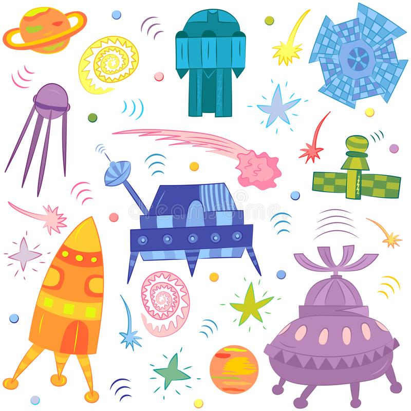 Colorful Hand Drawn Doodle Spaceships, Rockets, Falling Stars, Planets. And Comets. Vector Illustration stock illustration