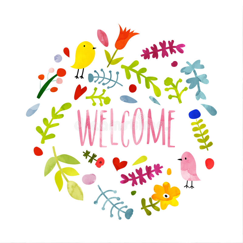 Colorful Hand Drawn Doodle Welcome Card. Stock ...