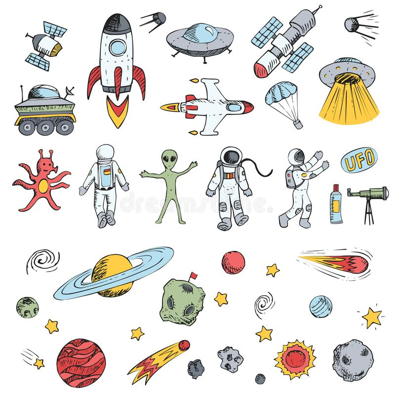 Colorful  hand drawn doodles cartoon set space objects. Space ships, rockets, planets, flying saucers, cosmonauts, stars,. Comets, satellites, ufo etc stock illustration