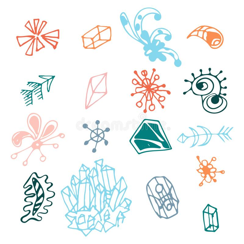 Colorful hand drawn fantasy elements set isolated on white background. Collection of different original shapes: arrows, minerals,. Triangles, prism, curls royalty free illustration