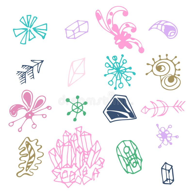Colorful hand drawn fantasy elements set isolated on white background. Collection of different original shapes: arrows, minerals,. Triangles, prism, curls stock illustration
