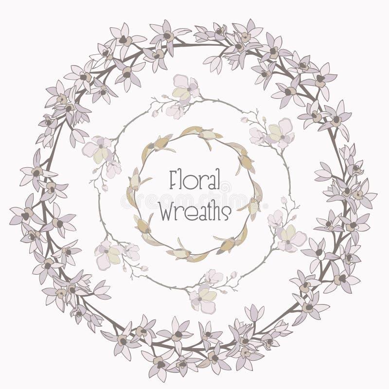 Vector Colorful Floral Wreaths. Flower Design Elements vector illustration