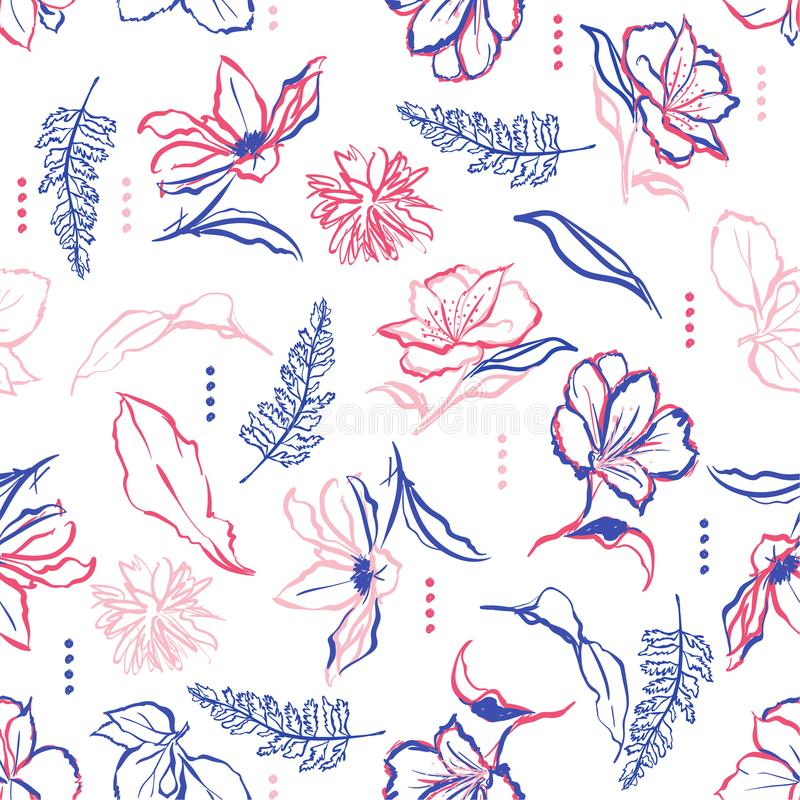 Colorful hand drawn flowers and brush strokes. Vector seamless p vector illustration