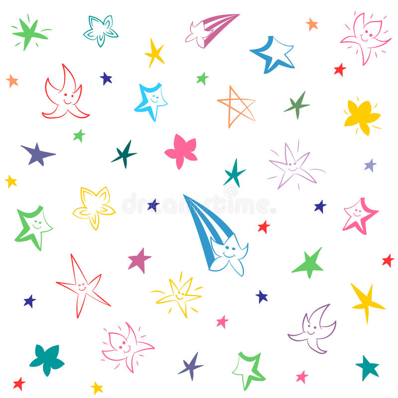 Colorful Hand Drawn Funny Stars. Children Drawings of Doodle Stars. stock illustration
