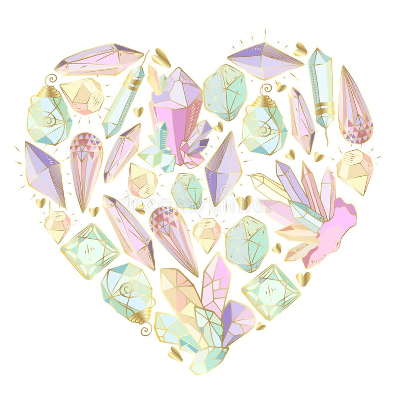 Vector crystals set stock illustration