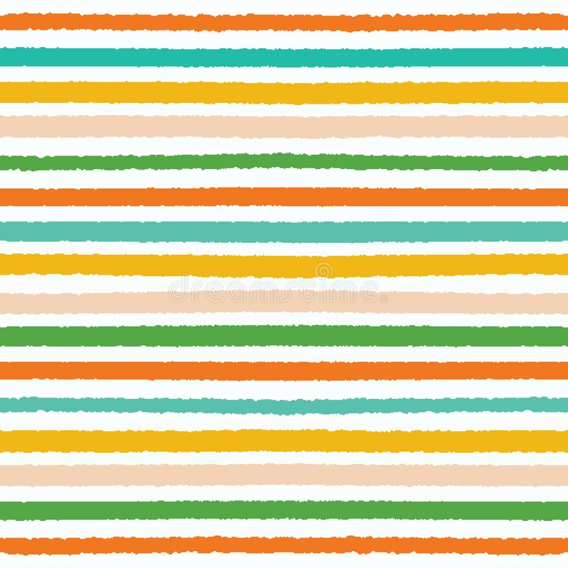 Colorful hand drawn horizontal stripes pattern. Seamless vector background. Uneven wonky textured lines. Organic classic abstract royalty free illustration