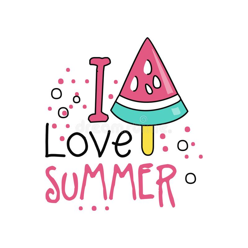 Colorful hand drawn label with piece of watermelon ice cream on stick. I love summer. Line style icon. Typography vector stock illustration