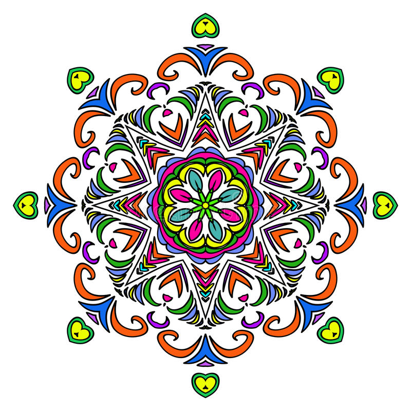Colorful Hand Drawn Mandala, Oriental Decorative Element, Vintage Style. vector illustration