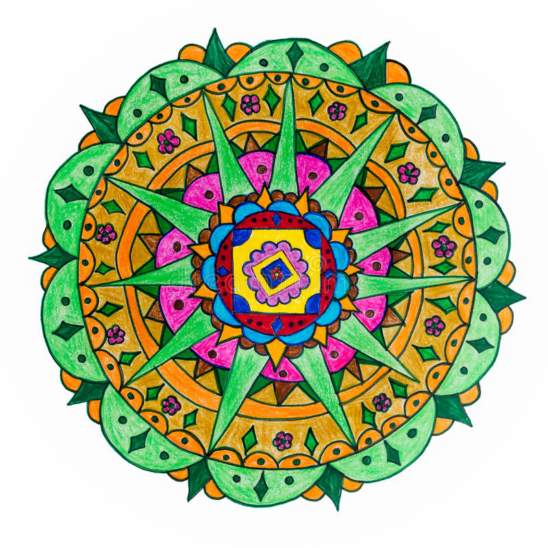 Colorful hand drawn mandala pattern royalty free illustration