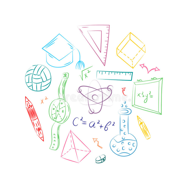 Colorful Hand Drawn School Symbols. Children Drawings of Ball, Books,Pencils, Rulers, Flask, Compass, Arrows Arranged in a Circle. royalty free illustration