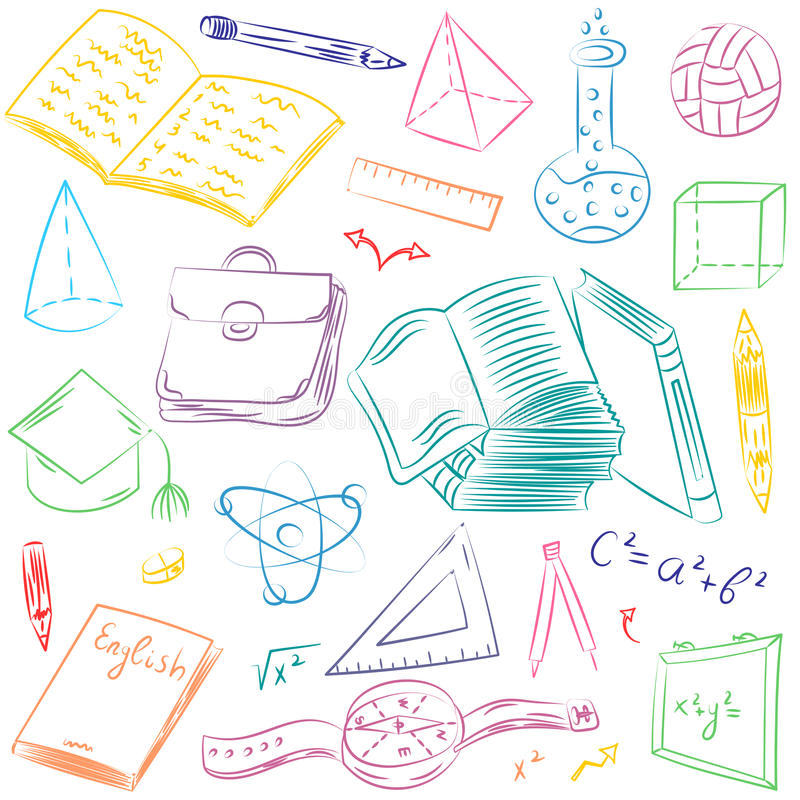 Colorful Hand Drawn School Symbols. Children Drawings of Ball, Books,Pencils, Rulers, Flask, Compass, Arrows. vector illustration