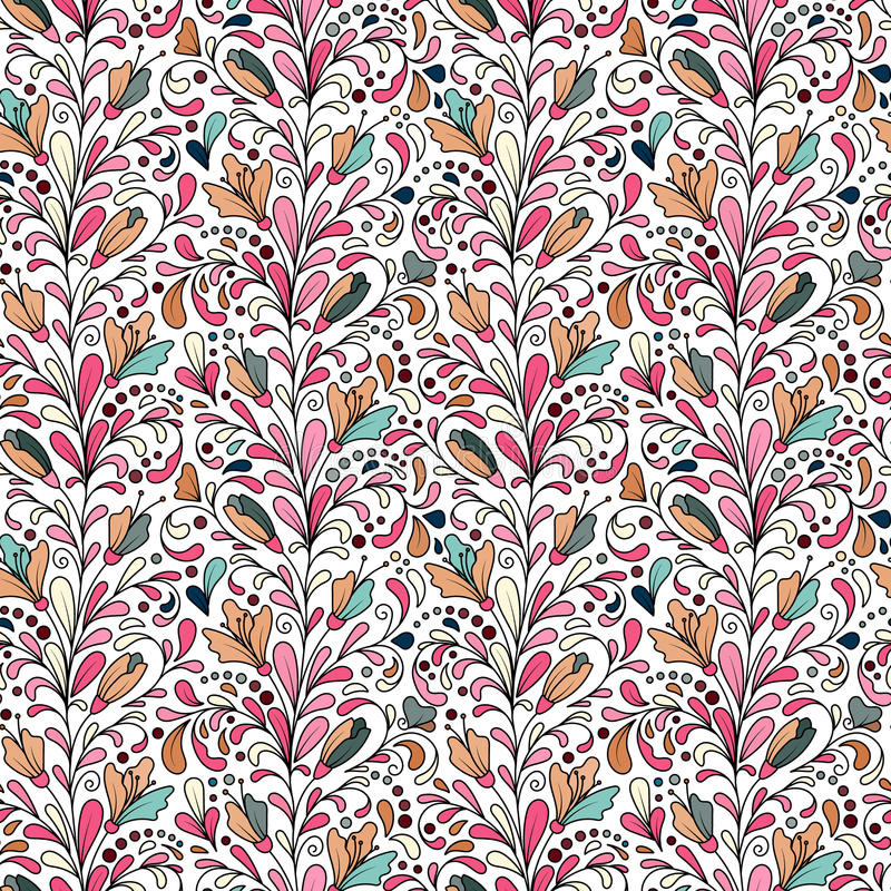 Colorful hand drawn seamless floral pattern with flowers and leaves. Doodle. Colorful hand drawn seamless floral pattern with pastel colors flowers and leaves vector illustration