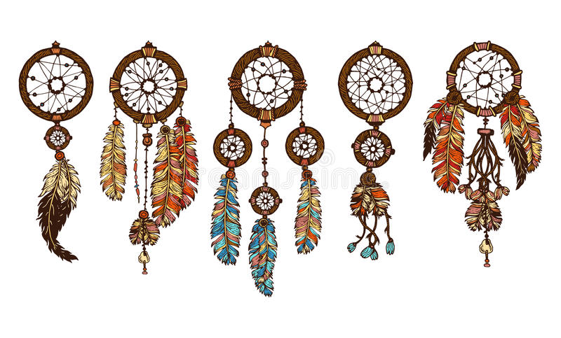 Colorful hand drawn set of 5 dreamcatcher with feathers royalty free illustration
