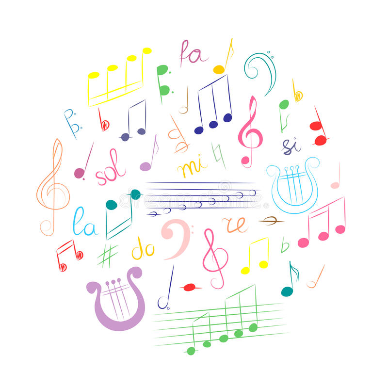 Colorful Hand Drawn Set Of Music Symbols Doodle Treble Clef Bass