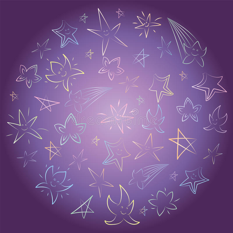 Colorful Hand Drawn Stars Arranged in a Circle. Children Drawings of Doodle Stars on Night Sky. Sketch Style vector illustration