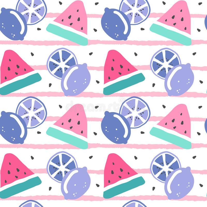 Cute colorful hand drawn summer seamless vector pattern illustration with watermelon slice, seed and lemons on striped background. Colorful hand drawn summer stock illustration