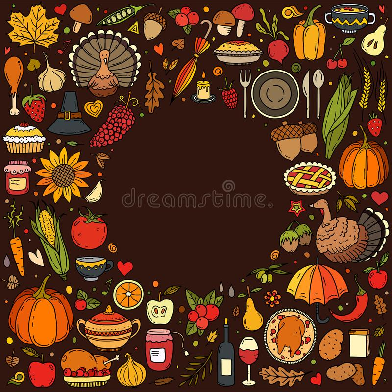 Colorful hand drawn vector doodle set of Thanksgiving vector illustration