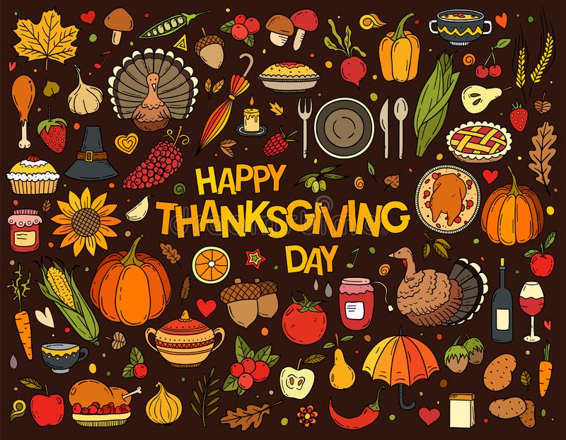 Colorful hand drawn vector doodle set of Thanksgiving stock illustration