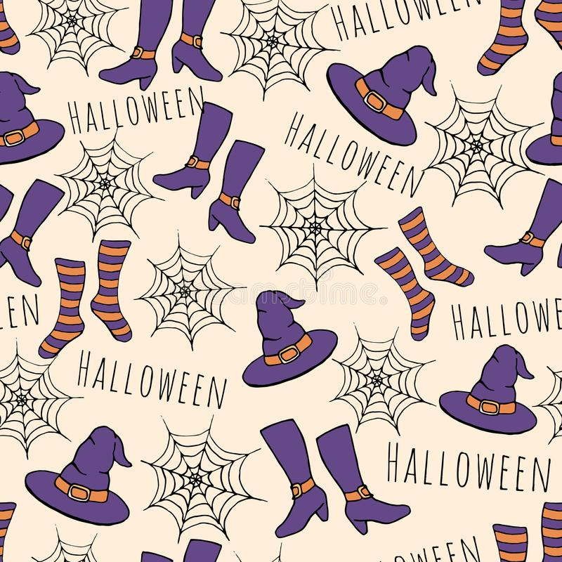 Colorful hand drawn vector halloween seamless pattern. Includes witches hat, stockings, shoes and spider webs. Purple and orange colors royalty free illustration