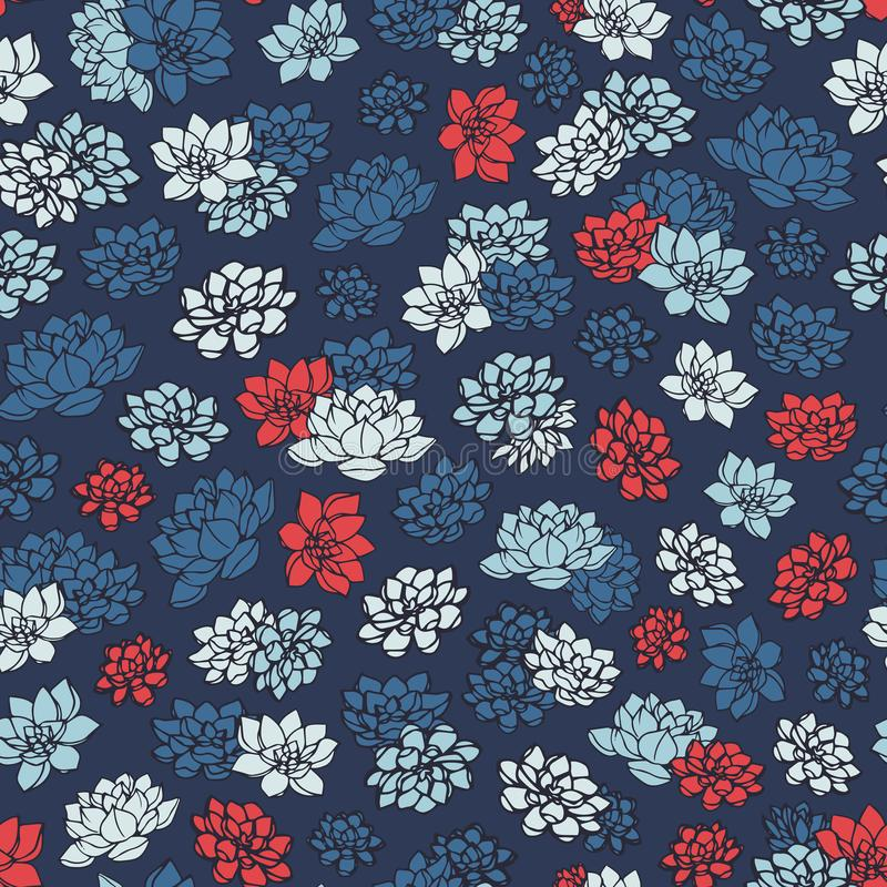 Colorful hand drawn vector lilies silhouettes seamless pattern in red and blue colors on dark navy background. Vintage floral design royalty free illustration