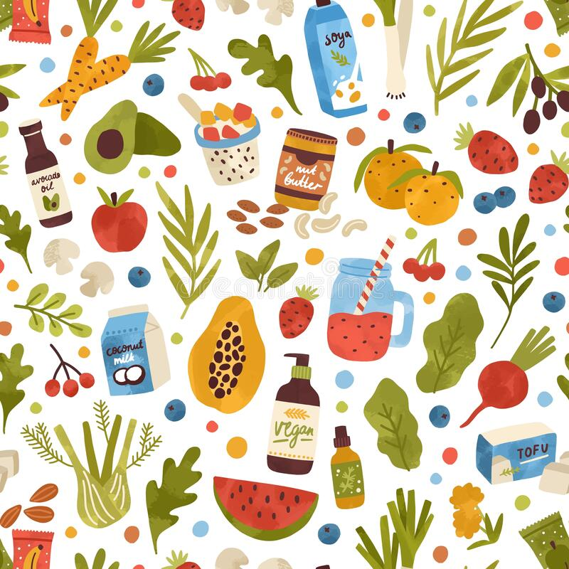 Free Colorful Hand Drawn Vegan Food, Drink And Herbs Seamless Pattern. Vegetables, Fruits, Berries, Cosmetics And Beverage Royalty Free Stock Photos - 194708288
