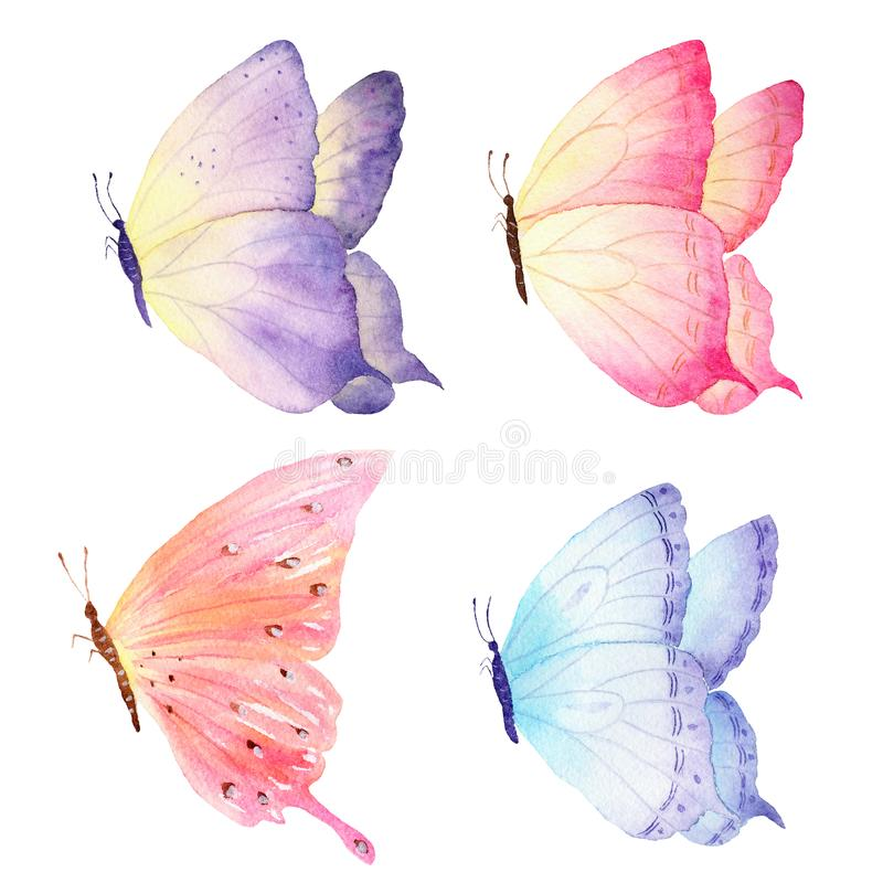 Colorful hand drawn watercolor butterfly collection. Ideal for invitations, cards, wallpapers, printing on fabric. royalty free illustration