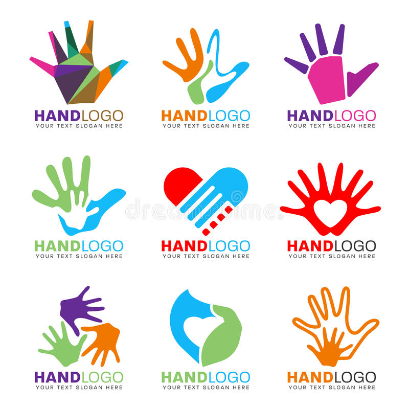 Colorful Hand and heart logo concept style vector set design vector illustration