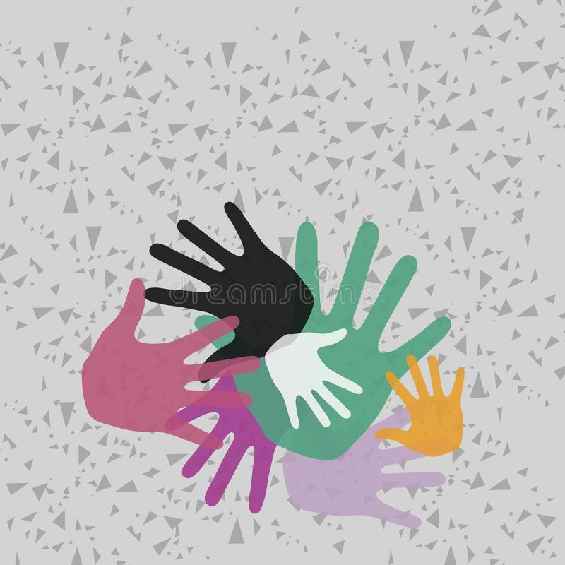 Colorful Hand Marks of Different Sizes Overlapping Overlaying. Creative Background Idea for Team Bulding Presentation vector illustration